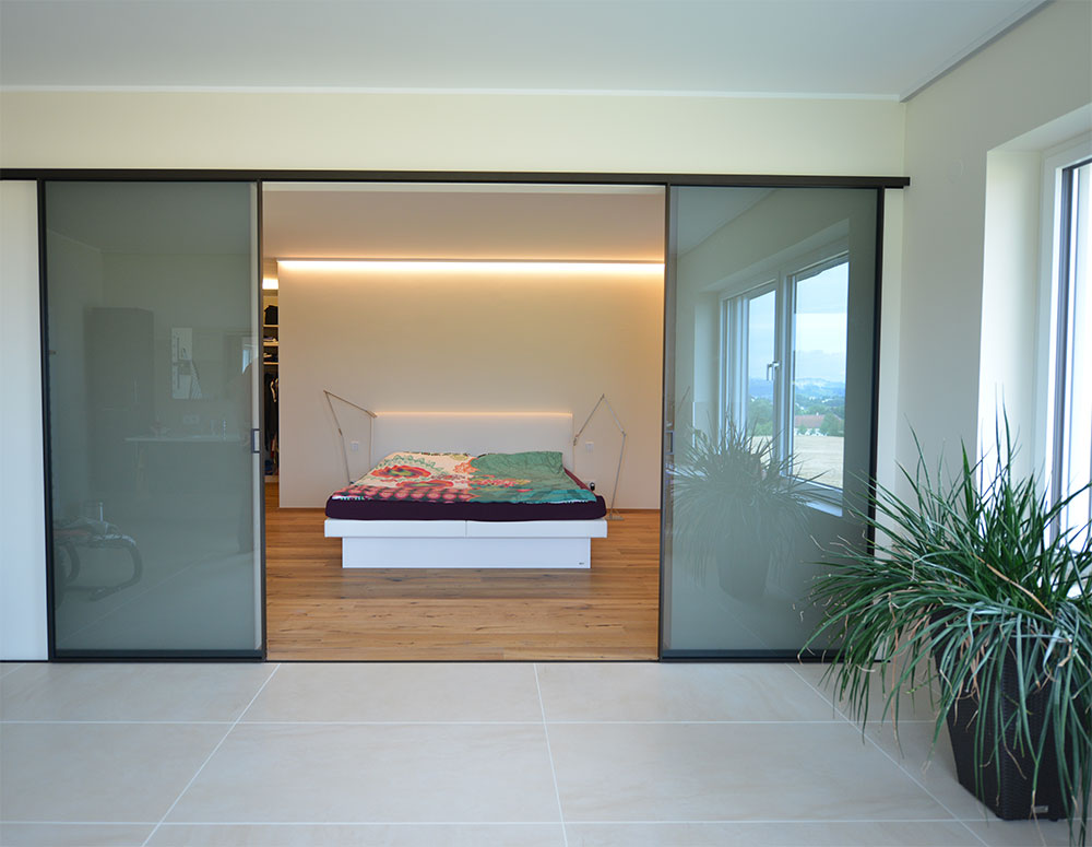 glas schiebetr schlafzimmer modern